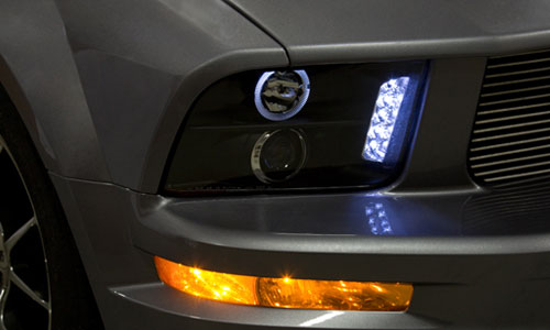 Black halo projector headlight with LED on car