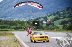 Woman Skydiving Into Ford Mustang